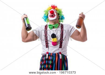 Funny clown with a bottle isolated on white background