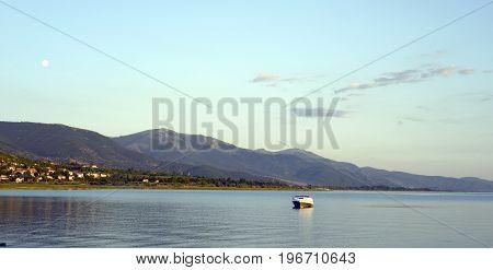 Dusk Scene Over Lake Prespa In Macedonia,