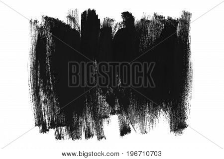 Abstract black paint brush strokes on white background