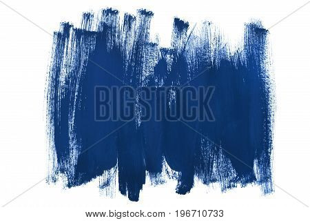 Blue paint abstract brush strokes isolated over white