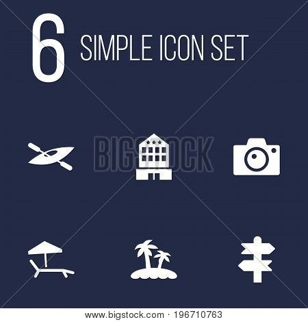 Collection Of Chaise Longue, Arrows, Palm And Other Elements.  Set Of 6 Journey Icons Set.