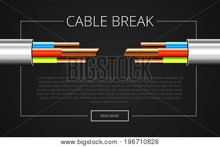 Electrical cable in white insulation. Copper electric cable in multi-colored insulation. Three-core cable on a black background. Technology presentation template. Vector illustration