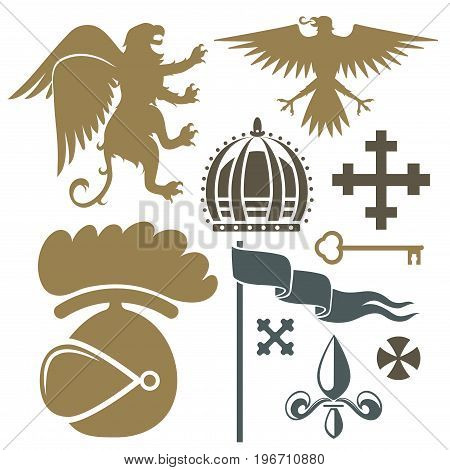 Heraldic royal crest medieval knight elements vintage king symbol heraldry castle badge vector illustration. Historical insignia crown luxury ornament graphic.