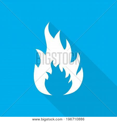 White fire icon in flat design. Vector illustration. Symbol of fire with long shadow on blue background.