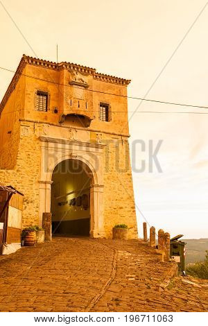 View of Motovun town gate at sunset Istria. Croatia