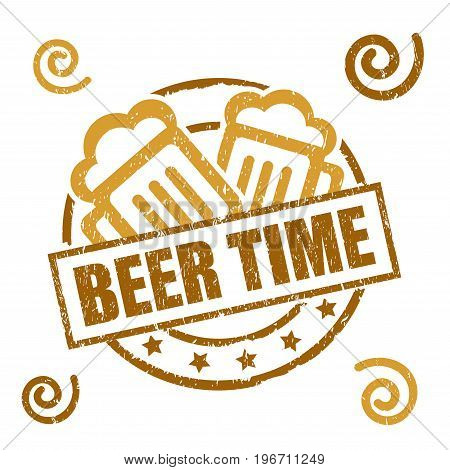 Beer Time Happy Hour Rubber Stamp on white background