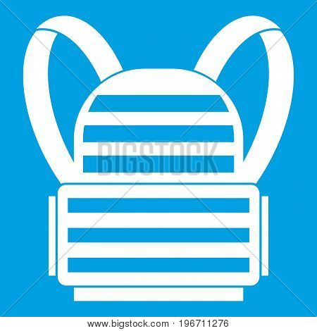 Military backpack icon white isolated on blue background vector illustration