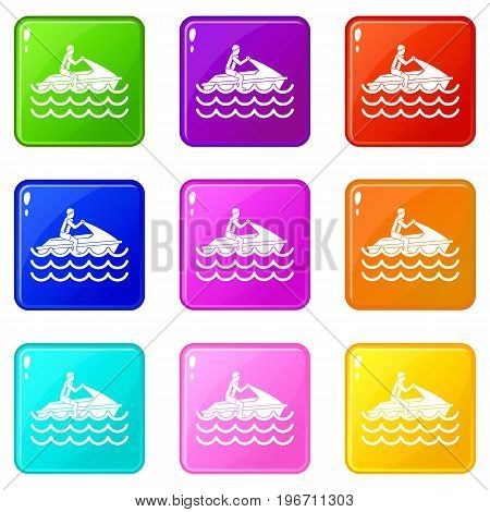 Man on jet ski rides icons of 9 color set isolated vector illustration