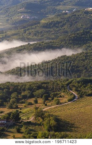 Sunrise in Motovun countryside in central Istria Croatia