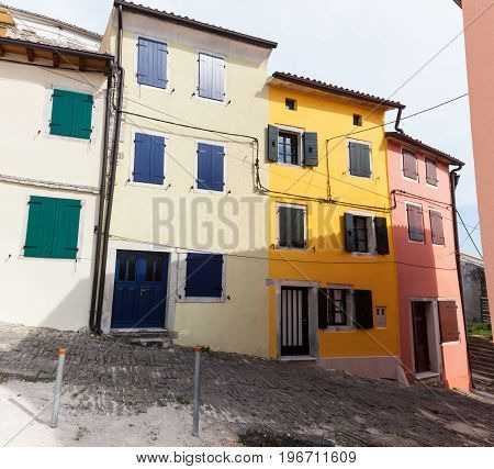 View of the Motovun colorful houses Istria. Croatia