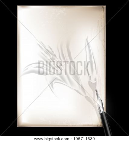 dark background retro stylized sheet of paper and old-fashioned writing pen