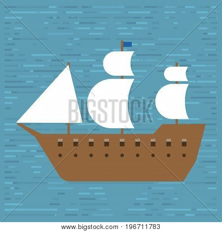 Ship boat sea frigate symbol vessel travel industry vector sailboats cruise marine icon commercial design element. Export business trade water cargo transportation.