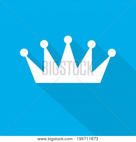 White crown icon in flat design. Vector illustration. Symbol of crown with long shadow on blue background.