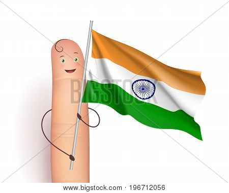 Finger and India waving flag. Politics and geography concept. Passing in a parade or in review. Realistic vector illustration on white background