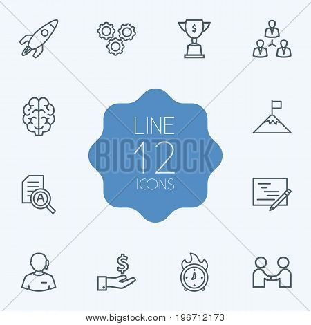 Collection Of Achievement, Startup, Deadline And Other Elements.  Set Of 12 Startup Outline Icons Set.