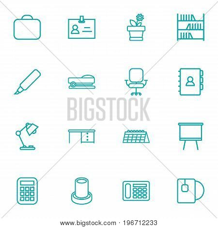Collection Of Book, Marker, Pencil And Other Elements.  Set Of 16 Bureau Outline Icons Set.