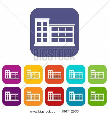 Industrial factory building icons set vector illustration in flat style in colors red, blue, green, and other