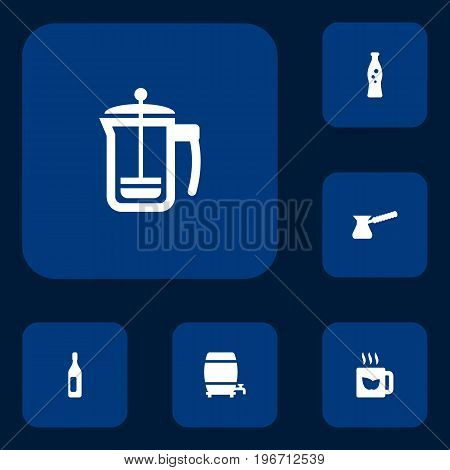 Collection Of Green Tea, Cask, Pot And Other Elements.  Set Of 6 Drinks Icons Set.