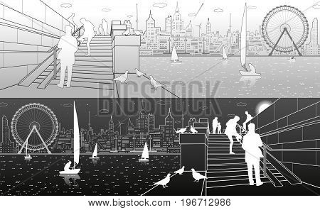 Stairs on the river embankment, people on steps. Yachts on the water. Doves are sitting on parapet. Evening city on the background. Ferris wheel. vector design art