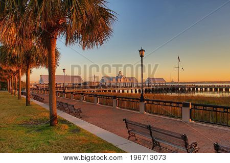Tropical Boardwalk dirt path along beach and ocean with tropical palm trees at sunset with Marina in background