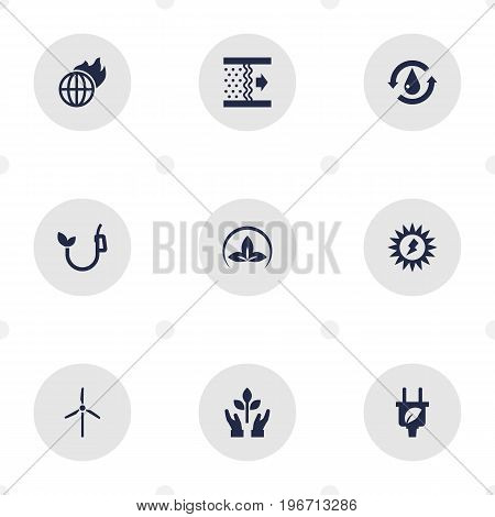 Collection Of Friendly, Protection, Purification And Other Elements.  Set Of 9 Ecology Icons Set.