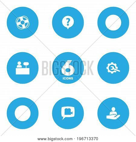 Collection Of Gear, Reception, Safe Ring And Other Elements.  Set Of 6 Maintenance Icons Set.