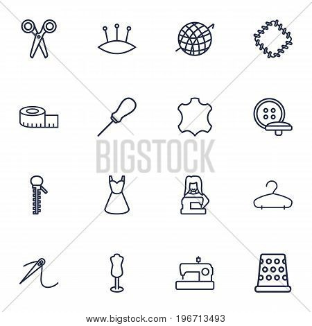 Collection Of Pincushion, Dummy, Hanger And Other Elements.  Set Of 16 Sewing Outline Icons Set.