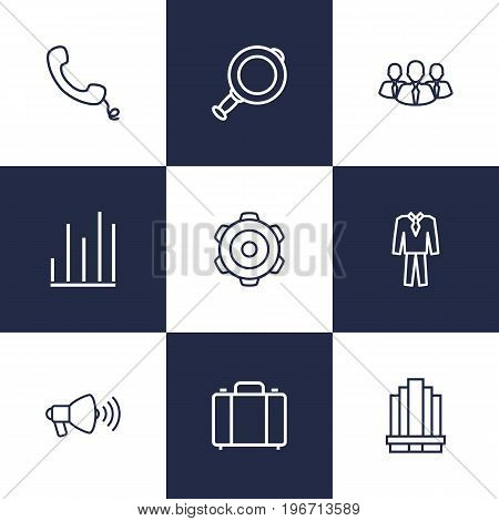 Collection Of Chart, Business Center, Suit And Other Elements.  Set Of 9 Trade Outline Icons Set.