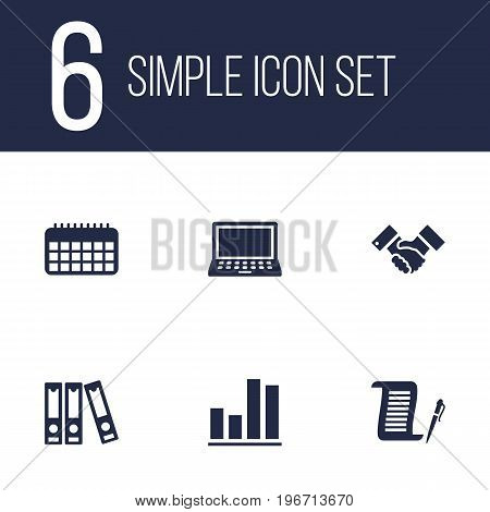 Collection Of File Folder, Handshake, Laptop Elements.  Set Of 6 Bureau Icons Set.
