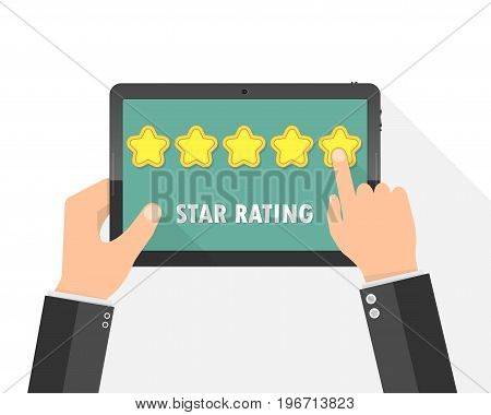 Hands holding a tablet computer with rating stars. Vector illustration. Rating stars app with five golden stars.