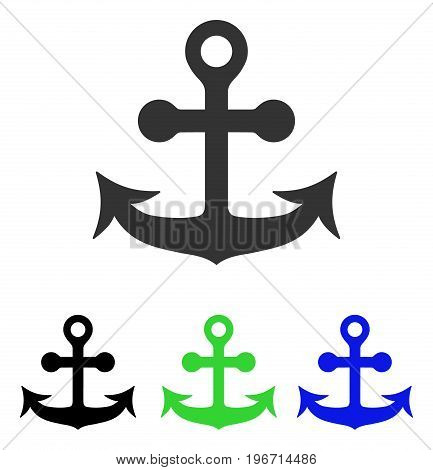 Anchor vector pictogram. Illustration style is a flat iconic colored symbol with different color versions.