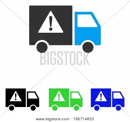 Danger Transport Truck vector icon. Illustration style is a flat iconic colored symbol with different color versions.