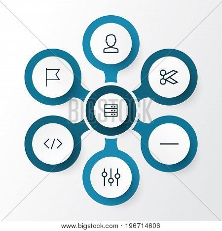 User Outline Icons Set. Collection Of Goal, Stabilizer, Server And Other Elements