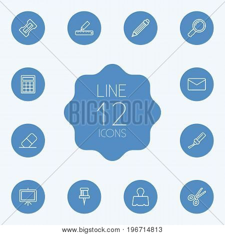 Collection Of Mail, Eraser, Drawing And Other Elements.  Set Of 12 Stationery Outline Icons Set.