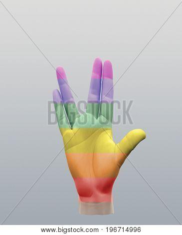 Vulcan Greeting Rainbow  3D rendering