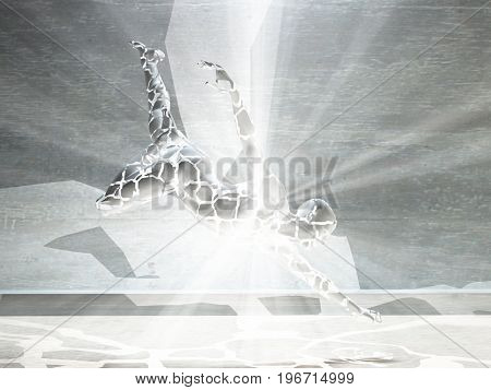 3D render. Men's figure with light rays.  3D rendering