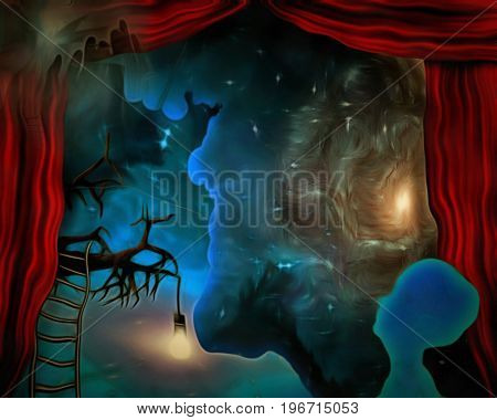 Surreal painting. Galaxies behind the red curtains. Light bulb and ladder on a tree branch. Human's silhouette is dreaming.  3D rendering  Some elements provided courtesy of NASA