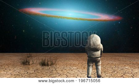 Surrealism. Astronaut stands in arid land. Galactic disk in the starry sky.  3D rendering  Some elements provided courtesy of NASA