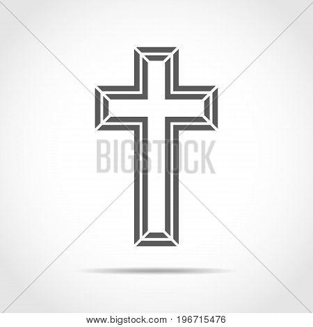 Gray Christian Cross Icon. Vector Illustration.