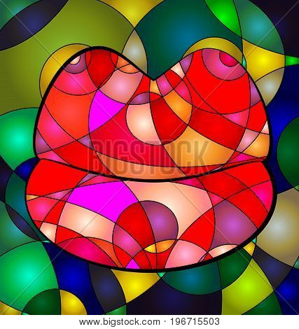 abstract colored background lips image consisting of lines