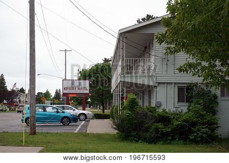 MACKINAW CITY, MICHIGAN / UNITED STATES - JUNE 18, 2017: The Riviera Motel offers lodging, close to the Mackinac Bridge, in Mackinaw City.