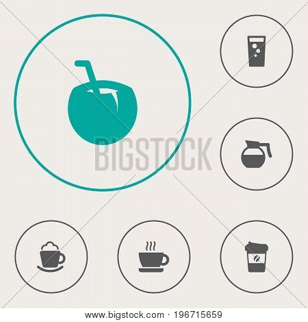 Collection Of Teapot, Soda, Cocktail And Other Elements.  Set Of 6 Drinks Icons Set.