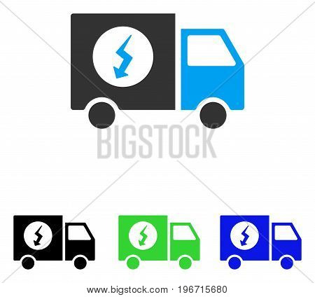 Power Supply Van vector pictograph. Illustration style is a flat iconic colored symbol with different color versions.