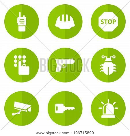 Collection Of Walkie-Talkie, Hardhat, Alarm And Other Elements.  Set Of 9 Safety Icons Set.