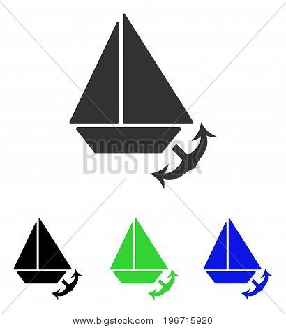 Seaport vector pictogram. Illustration style is a flat iconic colored symbol with different color versions.