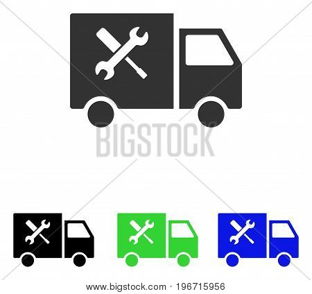 Service Car vector icon. Illustration style is a flat iconic colored symbol with different color versions.