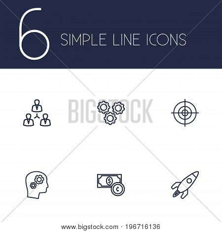 Collection Of Currency, Teamwork, Target And Other Elements.  Set Of 6 Startup Outline Icons Set.