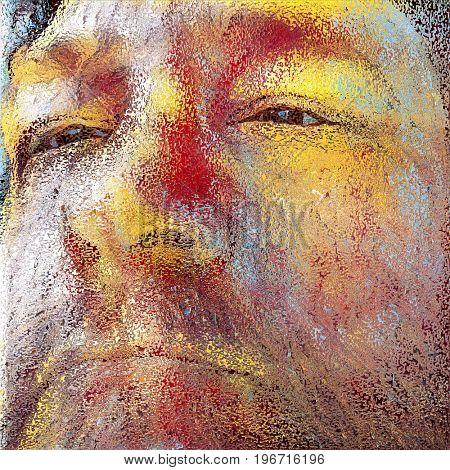 Illustration. Old man's face.   3D rendering