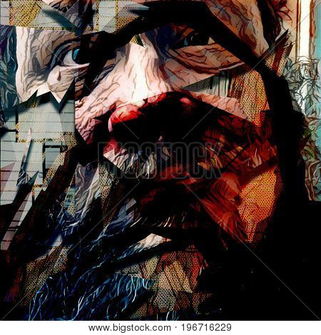 Abstract painting in dark colors. Old man's face.  3D rendering