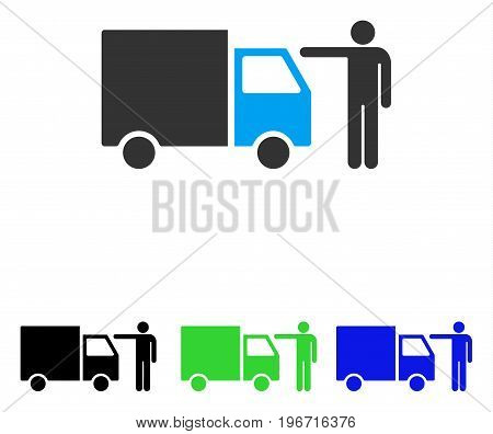 Truck Customer vector icon. Illustration style is a flat iconic colored symbol with different color versions.